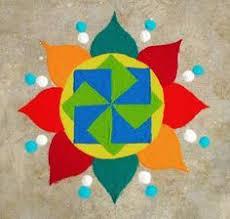 rangoli patterns using mathematical shapes rangoli geometrical patterns drawn on floor filled in with