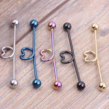 earring ear aliexpress buy 2pcs black silver blue heart shape industrial