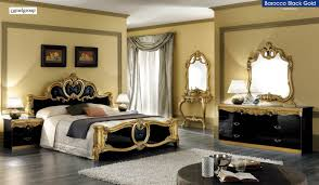 Bedroom Furniture Sets Queen Size Barocco Black And Gold Veneer Queen Bedroom Set