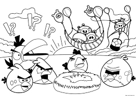 angry birds coloring page free for kids