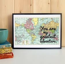 paper anniversary gifts for him paper anniversary gift gift for him unframed print vintage map