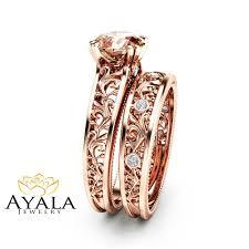 morganite bridal set pink morganite bridal set 14k gold morganite engagement