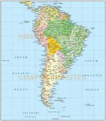 North America South America Map by Digital Vector South America Political Map With Sea Contours