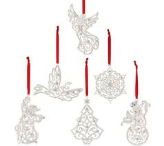 lenox set of 6 silver plated sparkle scroll ornaments page 1
