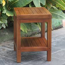 bathroom design square teak shower bench with metal stand on