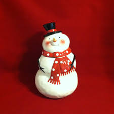 vintage snowman cookie jar ceramic hand painted holiday cookie