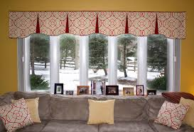Modern Window Valance Styles Modern Orange Wall Can Be Decor With Red And White Bay Window