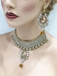 fashion design necklace images Gold champagne crystal bridal kundan necklace earrings jewelry set jpg
