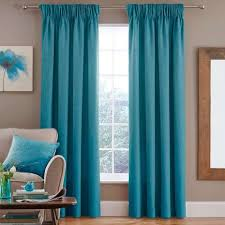 Teal Curtains Vermont Teal Lined Pencil Pleat Curtains Dunelm