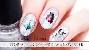 nail art tutorial ugly christmas sweater manicure stamping