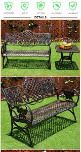 6 feet long metal park bench leg garden chair with side table cast