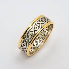 celtic wedding ring mens two tone knotwork celtic wedding ring