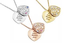 personalised necklaces personalised two heart necklace groupon