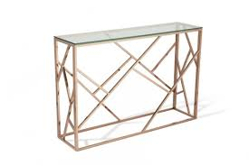 rose gold console table serene phoenix console table in rose gold and glass