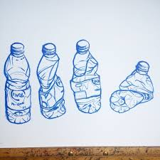 water bottle drawing oil pastel on paper art illustration