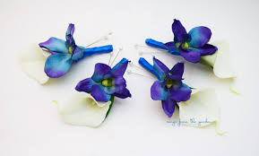 royal blue boutonniere blue orchid white calla boutonniere groom groomsmen with