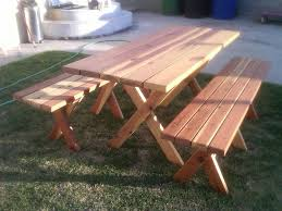 picnic table with separate benches table with detached benches