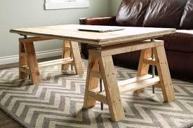 ana white modern indsutrial adjustable sawhorse desk to coffee