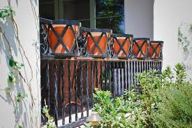 Flower Pot Holders For Fence - railing with pot holders traditional landscape phoenix by