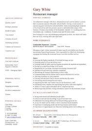 Resume Template For Restaurant Sample Of Restaurant Resume Restaurant Shift Manager Resume