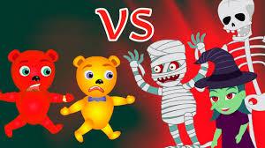 mega gummy bear visits halloween haunted house finger family rhyme
