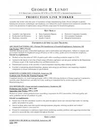 sles of memorial programs production worker description resume logistics sle cover