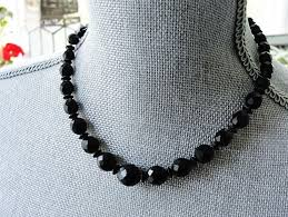 black glass necklace images Vintage black glass french jet bead necklace gorgeous faceted JPG