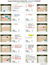 school calendars 2017 2018 2018 2019 bagdad unified school