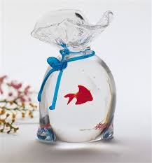 murano glass bag with one fish the cottage shop