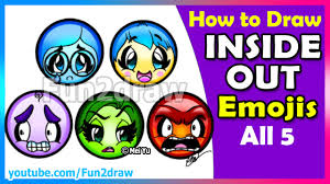 fun2draw thanksgiving inside out emojis all 5 super cute how to draw joy sadness