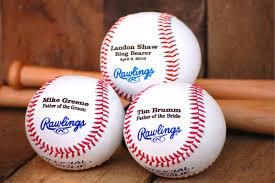 wedding keepsake gifts personalized ring bearer gift 3 baseballs custom engraved