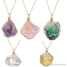 coloured crystal necklace images Wholesale mixes color natural stone jewelry ore irregular amethyst jpg