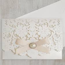 vintage lace wedding invitations with brooch polina perri uk