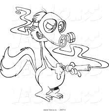 cartoon vector of cartoon skunk wearing a mask and spraying