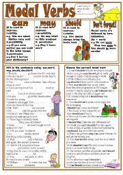 worksheet modal verbs can may should