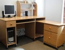 corner desk small style brown wood computer decor light cherry