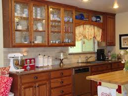 kitchen with glass cabinets home design ideas