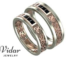 Black Diamond Wedding Ring Sets by Princess Cut Black Diamond Unique Matching Wedding Bands Vidar