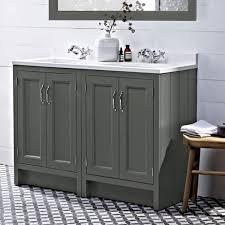 Bathroom Vanity Unit Worktops Roper Rhodes Hampton 1200mm Pewter Underslung Vanity Unit With