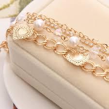 gold chain pearl bracelet images Zoshi heart bracelet bangles rhinestones multilayer link jpg