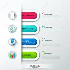 paper ribbons modern infographics options banner with 4 colorful paper ribbons