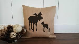 burlap moose pillow cover moose silhouette burlap pillow cover