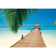 ideal decor 100 in x 144 in paradise beach wall mural dm284 paradise beach wall mural