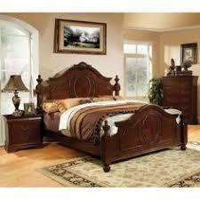 Bedroom Sets Traditional Style - furniture of america grande 4 piece dark walnut bedroom set by