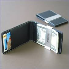 leather money clip credit card holder with century