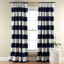 Blue And Striped Curtains Interior Excellent Blue White Fabric Striped Window Curtain Along