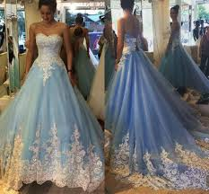 blue quincea era dresses white lace light blue gown prom dresses high quality