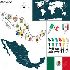 World Map Mexico by Vector Map Of Mexico With Regions With Flags And Location On