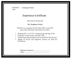 experience certificate template word templates