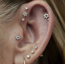earring on ear ear piercings fashion ear piercings